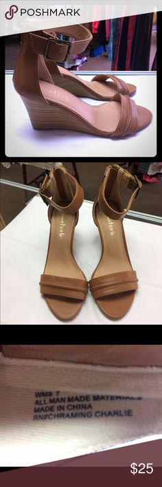 Charming Charlie tab wedge sandals, size 7 Tan Charming Charlie wedge sandals, size 7. Like new! Charming Charlie Shoes Wedges