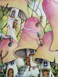 mushroom village reminds me of my acid trip only the colors aren't bright enough