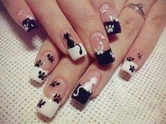 Get ready for some manicure magic as we bring you the hottest nail designs from celebrities, beauty brands and the catwalks Frensh Nails, Cat Nails, Nail Manicure, Nail Polish, Manicure Ideas, Cat Nail Art, Animal Nail Art, Paw Print Nails, Nagel Hacks