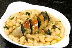 Cannellini Beans With Brown Butter Fried Sage And Chicken Sausage