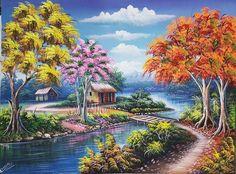 Flamboyant Tree Painting Oil Painting on Canvas Dominican Artwork Haitian Art Tropical Art Caribbean Colorful Original Painting 3040 Art Haïtien, Art Mural, Large Painting, Oil Painting On Canvas, Flamboyant, Haitian Art, Caribbean Art, Tropical Art, Art Moderne