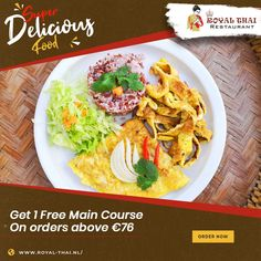 Indulge in the best food soaked in the best spices for the best experience. Order now! . . . . #SafetyFirst #OnlineOrder #FreeDelivery #Thai #ThaiFoods #ThaiDishes #Cuisines #FoodPorn #Foodie #ThaiCuisine #Restaurant #Yummy #Delicious #ThaiFoodLover #FoodLovers #FoodBlogger #SeaFood #ThaiRestaurant #RoyalThai #HygienicEnvironment Best Thai Restaurant, Authentic Thai Food, Thai Dishes, Thai Recipes, Amsterdam, Seafood, Food Porn, Spices, Sea Food