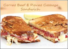Corned Beef and Pickled Cabbage Sandwich