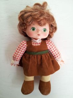 """Vintage 1976 Lesney Baby Doll Rubber Face Brown 10"""" Brwon Dress Green Eyes"""