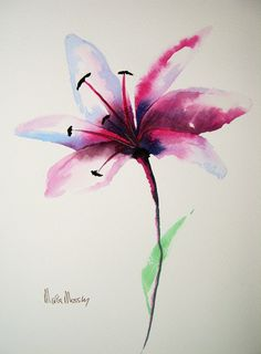 *LILY* ORIGINAL ART Watercolour Painting by Maria Moss | eBay