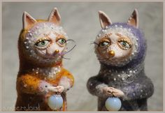 Лунные Лися и Волчок *** doll, dollart, hand made, ©ambercloud, авторская кукла
