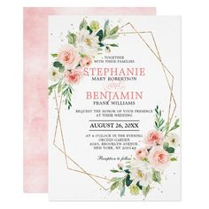 Small Home Interior Blush Pink Florals Modern Geometric Bridal Shower Invitation.Small Home Interior Blush Pink Florals Modern Geometric Bridal Shower Invitation Botanical Wedding Invitations, Elegant Wedding Invitations, Wedding Invitation Cards, Watercolor Invitations, Invitation Wording, Wedding Stationary, Pink Wedding Theme, Floral Wedding, Wedding Pastel