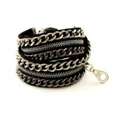 Jurate Zipper Bracelet in Silver and Gunmetal