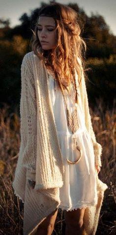 gypsy style addiction / knit cardigan + white dress