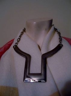 "Signed Chico's Mod Modernist Bold Necklace Silver Plated Metal 20"" & Extender  #Chicos #Pendant"