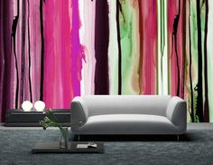 Wall paintings watercolor watercolor ideas design effect signal colors sofa gray carpet biden sideboard table pink