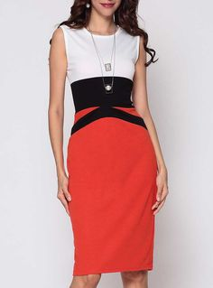 Fvogue Best Selling Color Block Celebrity Round Neck Bodycon dress-$15.99