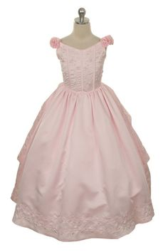 Girls Dress Style 9012- PINK Satin Shoulder Strap with Faux Pearl Detailing