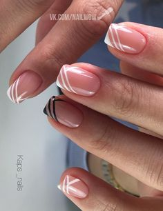 White French Nails, Almond Nails French, French Tip Nails, White Nails, Pink Nails, Nail Polish Trends, Pretty Nail Art, Accent Nails, Short Nails