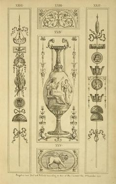 Central design of vase; seated goddess pointing at woman with urn. Arabesque, Art Decor, Decoration, Angel Decor, Decorative Panels, Gold Work, Elements Of Design, Ink Illustrations, Historical Architecture