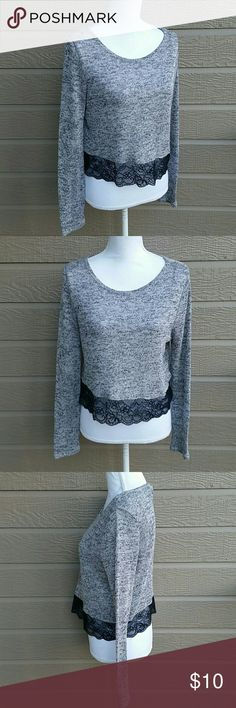 H&M light knit grey crop long sleeve lace sweater H&M light knit grey cropped long sleeve sweater with black lace along the hem. In great condition. Size SMALL.   Bundle for a discount or make an offer! Divided Tops Crop Tops