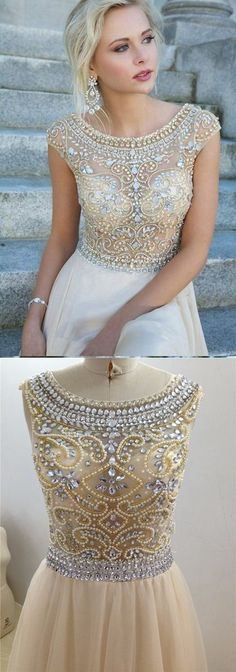 Rhinestone Short Sleeves Prom Dresses Evening Party Dress Wedding Dresses…