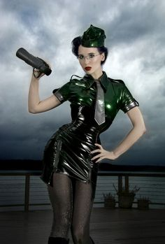 Industrial #Goth in latex mini-dress. Love the outfit
