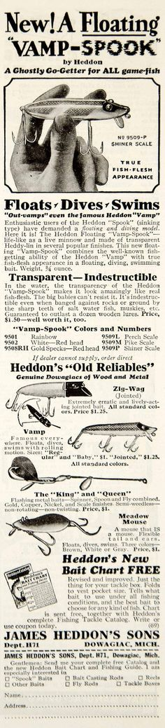 This is an original 1931 black and white print ad for the Vamp-Spook fishing lure that was made and sold by James Heddon's Sons of Dowagiac, Michigan (MI). CONDITION This 81+ year old Item is rated Ve