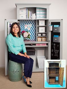 Revamp Your Storage Space - Home Office Armoire Makeover Armoire Makeover, Desk Makeover, Furniture Makeover, Furniture Projects, Home Projects, Diy Furniture, Repurposed Furniture, Office Furniture, Office Desk Organization