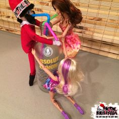 The Metal Mulisha Dirt Bag on the Dirt Bike got the night started off right with his new friends! Naighty elf on the shelf. Drinking with barbie. http://www.metalmulisha.com/blog/dirt-bag-on-the-dirt-bike/