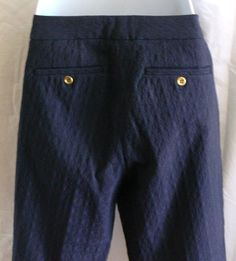 Cynthia Rowley Pants Navy Textured Cotton Blend material size 8 #CynthiaRowley #CasualPants