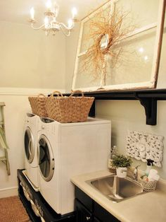 Raised Up Using a contrast of black and white with a chandelier accessory makes this laundry room feel dynamic and elegant. This room is not only stylish but functional, too. Designer Sausha Khoundet maximizes the available space by raising the washer and dryer to provide additional storage underneath.