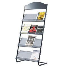 Newspaper//Magazine Shelf Black and White Metal Iron Floor-Mounted Large-Capacity Bookshelf Easy to Move,Black