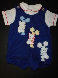 MAYFAIR Baby Boys 3-6 Month Red Blue Choice Short One Piece Outfit NWT