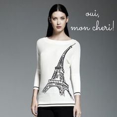 SALE$ Super Soft Graphic Eiffel Tower Crew Sweater Magnifique! This Catherine Malandrino for DesigNation top infuses Parisian style into your everyday wardrobe. Featuring the graphic Eiffel Tower, this sweater adds a touch of romance to any casual ensemble. The pearl & black color make the perfect neutral. Flattering boat neck & 3/4 length dolman sleeves have ribbed trim. Made of a super soft wool blend, this top is lightweight & perfect for transitioning seasons. ⭐️Retail: $65! ⭐️NWOT…