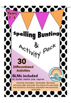 Within this package are a set of spelling activity bunting flags to display in the classroom, BLM's to support each activity flag and a teacher's guide.  We have included a range of tasks to cater for the diverse learning classroom.  We have also included a recording chart.We have grouped and colour coded the activities according to difficulty in order to allow for differentiation as well as guiding students to the correct level of activity for them. ~ Rainbow Sky Creations ~