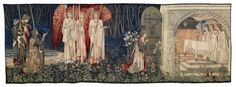 """Quest for the Holy Grail Tapestries - Panel 6 """"The Attainment; The Vision of the Holy Grail to Sir Galahad, Sir Bors & Sir Percival"""" - Originally designed for William Knox D'Arcy, several further versions were woven later. 'The Attainment' is 1 of 3 tapestries commissioned in 1895 by industrialist Laurence Hodson, for Compton Hall near Wolverhampton. Based on the 15th century text Le Morte D'Arthur (The Death of Arthur) by Sir Thomas Malory. - Birmingham Museums & Art Gallery"""