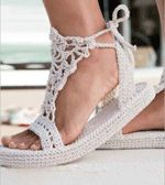 Strappy #crochet Sandals by Brenda K. B. Anderson in hemp twine