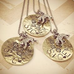 Hand stamped bronze necklace with an engraved #SicEm -- a perfect graduation present!