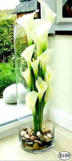 Incredible White Calla Lily REAL TOUCH Flower Arrangements LOOK and FEEL REAL and are permanently set hard in a clear ARTIFICIAL WATER, guaranteed to look fresh forever. Handmade, modern Flower Arr ..