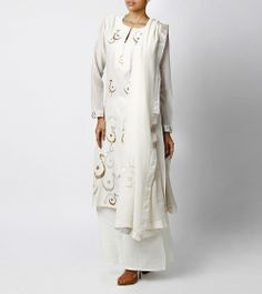 Off-White Suit with Palazzo Pants & Urdu Alphabet Embroidery
