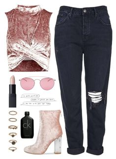 """Untitled #1939"" by katerina-rampota ❤ liked on Polyvore featuring Topshop, NARS Cosmetics, Maison Margiela, Forever 21, Calvin Klein, Pink and velvet"