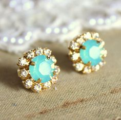 Crystal stud mint earring - 14k plated gold post earrings real swarovski rhinestones .. $28.00, via Etsy.