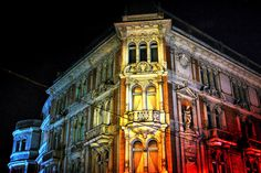 Lviv architecture at night