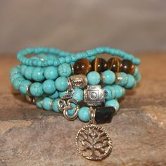 Turquoise Stack Bracelet-Stacking Bracelet-Beaded by Myhoopjewelry