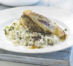 Mushroom-stuffed chicken with lemon thyme risotto, may substitute Butternut Squash Risotto instead.
