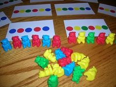 Teaching pattern/matching with sorting bears- I already have these for my linking chains and cubes, but would love to add these for the bears.