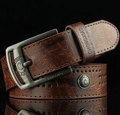 Men's denim casual belt hollow rivet punk wide belt strap male jeans pu leather belt Real Leather Belt, Leather Belt Buckle, Leather Belts, Belt Buckles, Leather Men, Buckle Jeans, White Leather, White Belt, Brown Belt