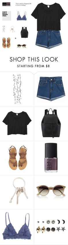 """""""love is the only thing left that's true"""" by made-of-starlight ❤ liked on Polyvore featuring Chicnova Fashion, Monki, Mansur Gavriel, Valia Gabriel, NARS Cosmetics, Givenchy, Ray-Ban and Wet Seal"""