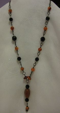 Black Crystal and Peach Agate Necklace by JadedJewelsUK on Etsy, £18.00
