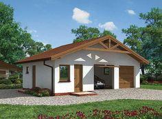 Projekt domu G3 garaż dwustanowiskowy z pomieszczeniami gospodarczymi U Shaped House Plans, U Shaped Houses, Home Fashion, Gazebo, Shed, Outdoor Structures, Cabin, House Styles, Outdoor Decor