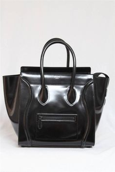 Celine Rare Limited Edition Black Leather \u0026amp; Wool Trapeze Bag