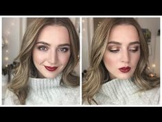 Gold Eyes & Red Lips Makeup Tutorial - YouTube