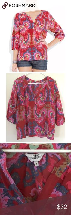"""TIBI New York Isabella Silk Multi Paisley Blouse • Silk  • Relaxed fit • 3/4 sleeves • V-Neck with button placket • Underarm to underarm laying flat measures 18.5"""" across; shoulder to hem measures 23"""" • $248 retail, in great condition Tibi Tops Blouses"""