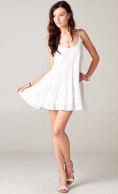 White Open-Back Babydoll Tiered Dress from Publik